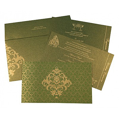 Green Shimmery Damask Themed - Screen Printed Wedding Card : RU-8257A - 123WeddingCards