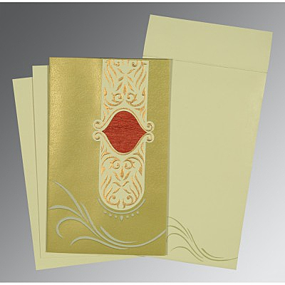 Green Shimmery Embossed Wedding Invitations : D-1317 - 123WeddingCards