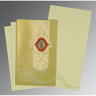 Green Shimmery Embossed Wedding Card : I-1317 - 123WeddingCards