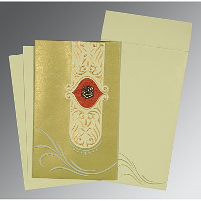 Green Shimmery Embossed Wedding Card : IN-1317 - 123WeddingCards