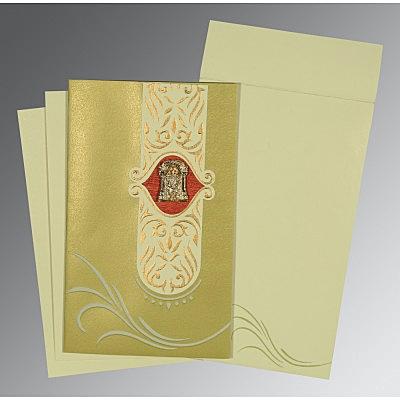 Green Shimmery Embossed Wedding Invitations : SO-1317 - 123WeddingCards