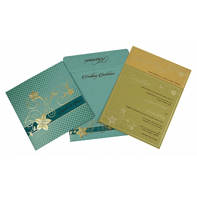 Green Shimmery Floral Themed - Foil Stamped Wedding Invitation : G-1790 - 123WeddingCards