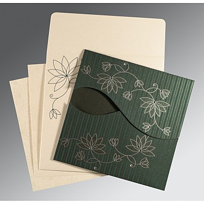 Green Shimmery Floral Themed - Screen Printed Wedding Invitation : IN-8251J - 123WeddingCards