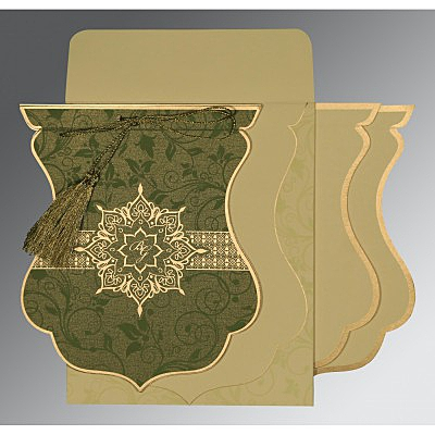 Green Shimmery Floral Themed - Screen Printed Wedding Card : SO-8229P - 123WeddingCards