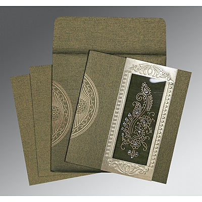 Green Shimmery Paisley Themed - Foil Stamped Wedding Invitations : D-8230L - 123WeddingCards