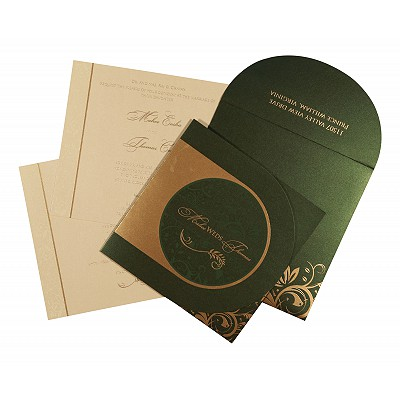 Green Shimmery Paisley Themed - Screen Printed Wedding Card : W-8264I - 123WeddingCards