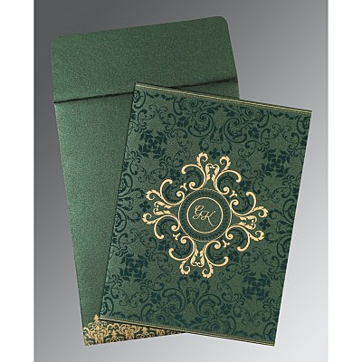 Green Shimmery Screen Printed Wedding Card : C-8244I - 123WeddingCards