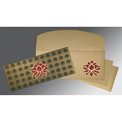 Green Shimmery Screen Printed Wedding Invitations : D-1449 - 123WeddingCards