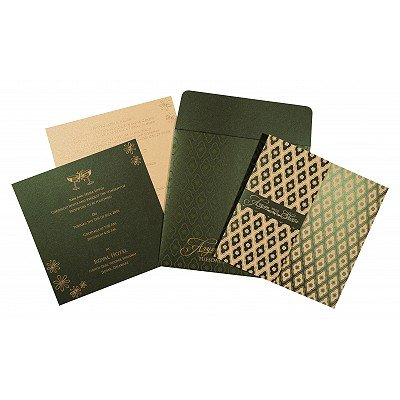 Green Shimmery Screen Printed Wedding Invitations : D-8263G - 123WeddingCards