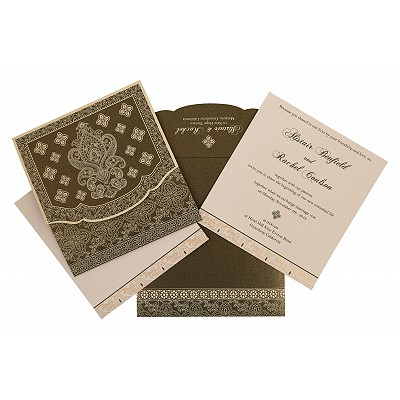 Green Shimmery Screen Printed Wedding Invitation : G-800A - 123WeddingCards
