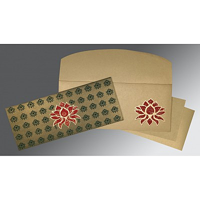 Green Shimmery Screen Printed Wedding Invitations : I-1449 - 123WeddingCards