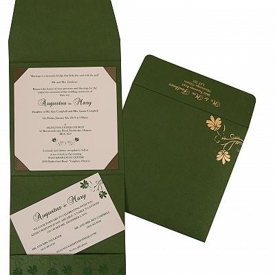 Green Shimmery Screen Printed Wedding Invitation : I-803B - 123WeddingCards