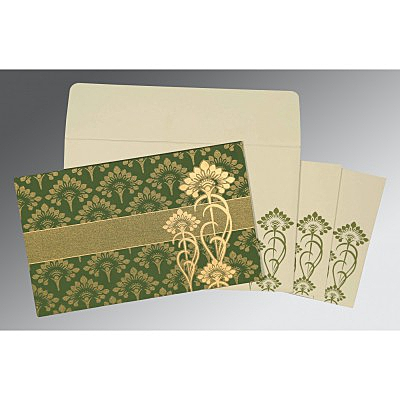 Green Shimmery Screen Printed Wedding Card : I-8239F - 123WeddingCards