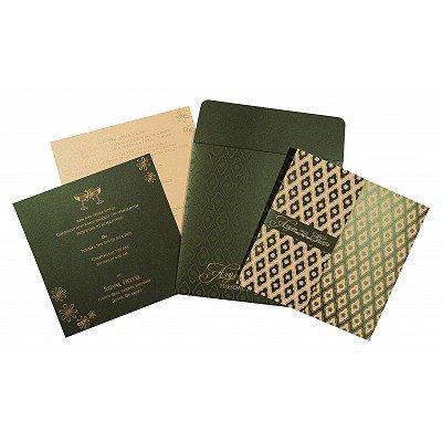 Green Shimmery Screen Printed Wedding Invitations : I-8263G - 123WeddingCards