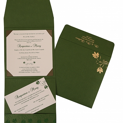 Green Shimmery Screen Printed Wedding Invitation : S-803B - 123WeddingCards