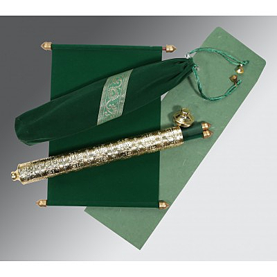 Green Velvet Wedding Card : SC-5005I - 123WeddingCards