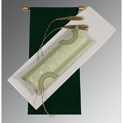 Green Velvet Wedding Card : SC-5010D - 123WeddingCards