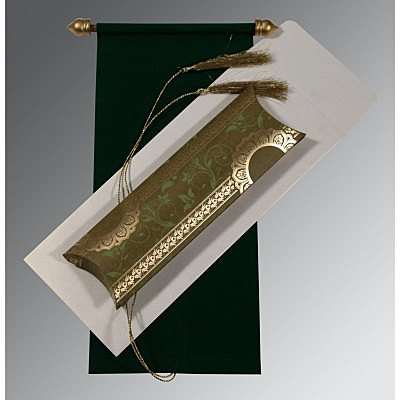 Green Velvet Wedding Card : SC-5010F - 123WeddingCards