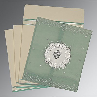 Green Wooly Embossed Wedding Invitation : C-8202M - 123WeddingCards