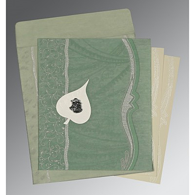 Green Wooly Embossed Wedding Card : C-8210E - 123WeddingCards