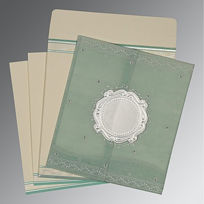 Green Wooly Embossed Wedding Invitations : D-8202M - 123WeddingCards