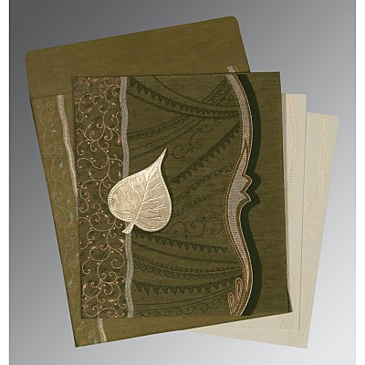 Green Wooly Embossed Wedding Card : D-8210I - 123WeddingCards