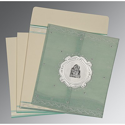 Green Wooly Embossed Wedding Invitation : G-8202M - 123WeddingCards