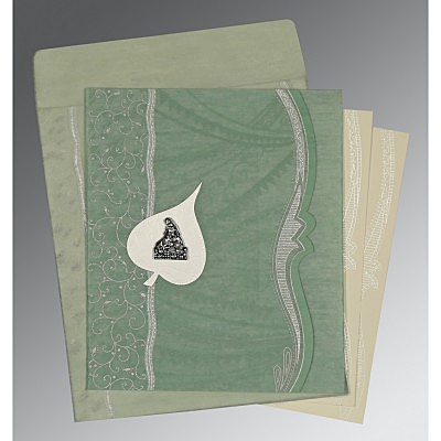 Green Wooly Embossed Wedding Card : G-8210E - 123WeddingCards