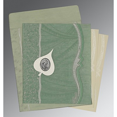 Green Wooly Embossed Wedding Card : I-8210E - 123WeddingCards
