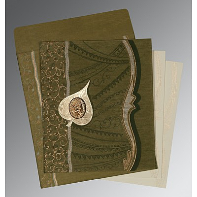 Green Wooly Embossed Wedding Card : I-8210I - 123WeddingCards