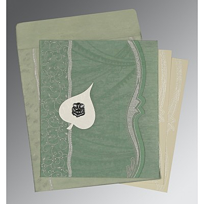 Green Wooly Embossed Wedding Card : IN-8210E - 123WeddingCards