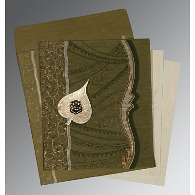 Green Wooly Embossed Wedding Invitations : IN-8210I - 123WeddingCards