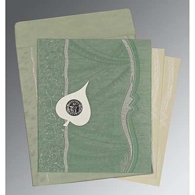 Green Wooly Embossed Wedding Card : S-8210E - 123WeddingCards