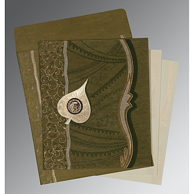 Green Wooly Embossed Wedding Card : S-8210I - 123WeddingCards