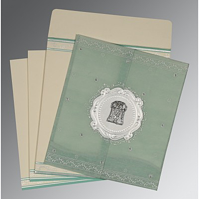Green Wooly Embossed Wedding Invitations : SO-8202M - 123WeddingCards