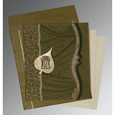 Green Wooly Embossed Wedding Card : SO-8210I - 123WeddingCards