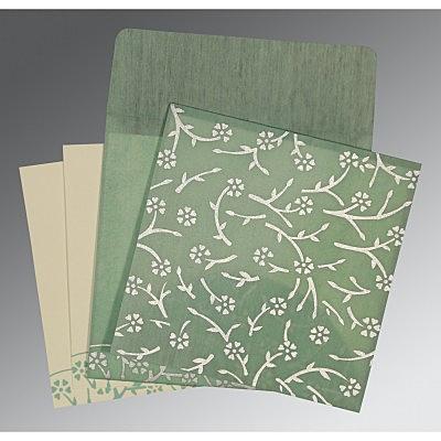 Green Wooly Floral Themed - Screen Printed Wedding Invitation : C-8216F - 123WeddingCards
