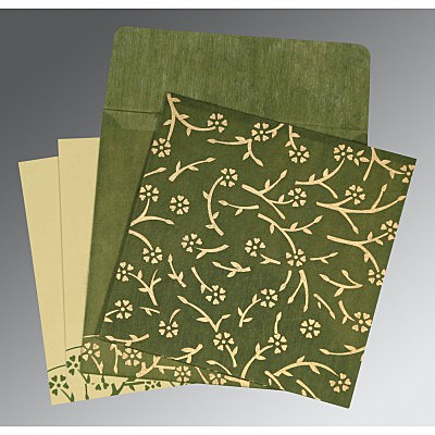 Green Wooly Floral Themed - Screen Printed Wedding Invitations : IN-8216J - 123WeddingCards