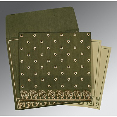 Green Wooly Floral Themed - Screen Printed Wedding Invitations : S-8218A - 123WeddingCards