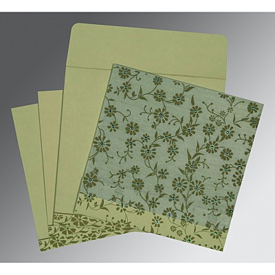 Green Wooly Floral Themed - Screen Printed Wedding Card : W-8222G - 123WeddingCards