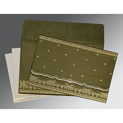 Green Wooly Foil Stamped Wedding Invitations : C-8241L - 123WeddingCards