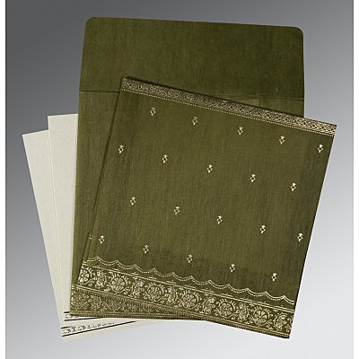 Green Wooly Foil Stamped Wedding Invitations : IN-8242O - 123WeddingCards