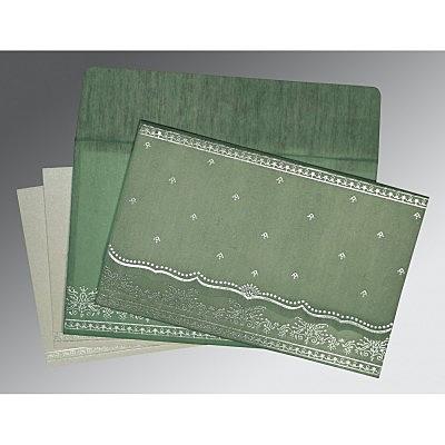 Green Wooly Foil Stamped Wedding Invitations : RU-8241C - 123WeddingCards