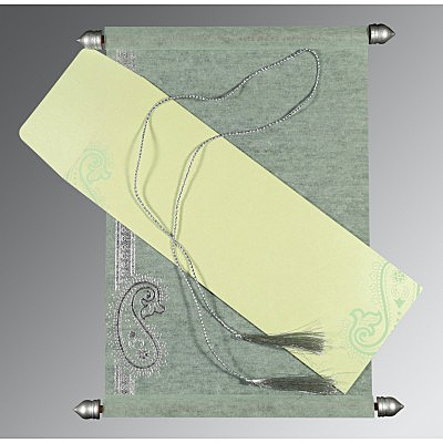 Green Wooly Foil Stamped Wedding Card : SC-5015H - 123WeddingCards