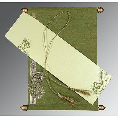 Green Wooly Foil Stamped Wedding Card : SC-5015I - 123WeddingCards