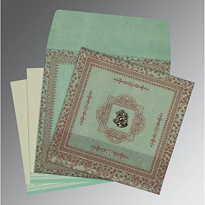 Green Wooly Glitter Wedding Invitations : C-8205N - 123WeddingCards