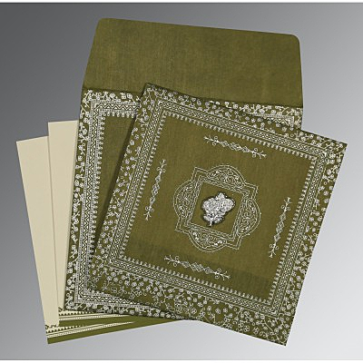 Green Wooly Glitter Wedding Card : I-8205Q - 123WeddingCards