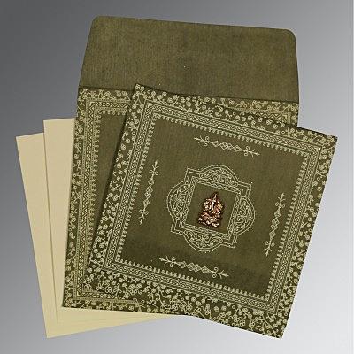 Green Wooly Glitter Wedding Invitations : IN-8205G - 123WeddingCards