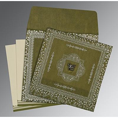 Green Wooly Glitter Wedding Card : S-8205Q - 123WeddingCards