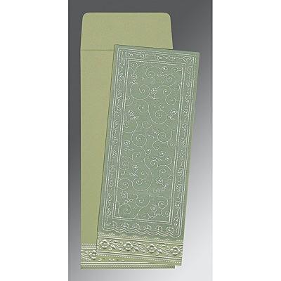 Green Wooly Screen Printed Wedding Invitations : C-8220G - 123WeddingCards
